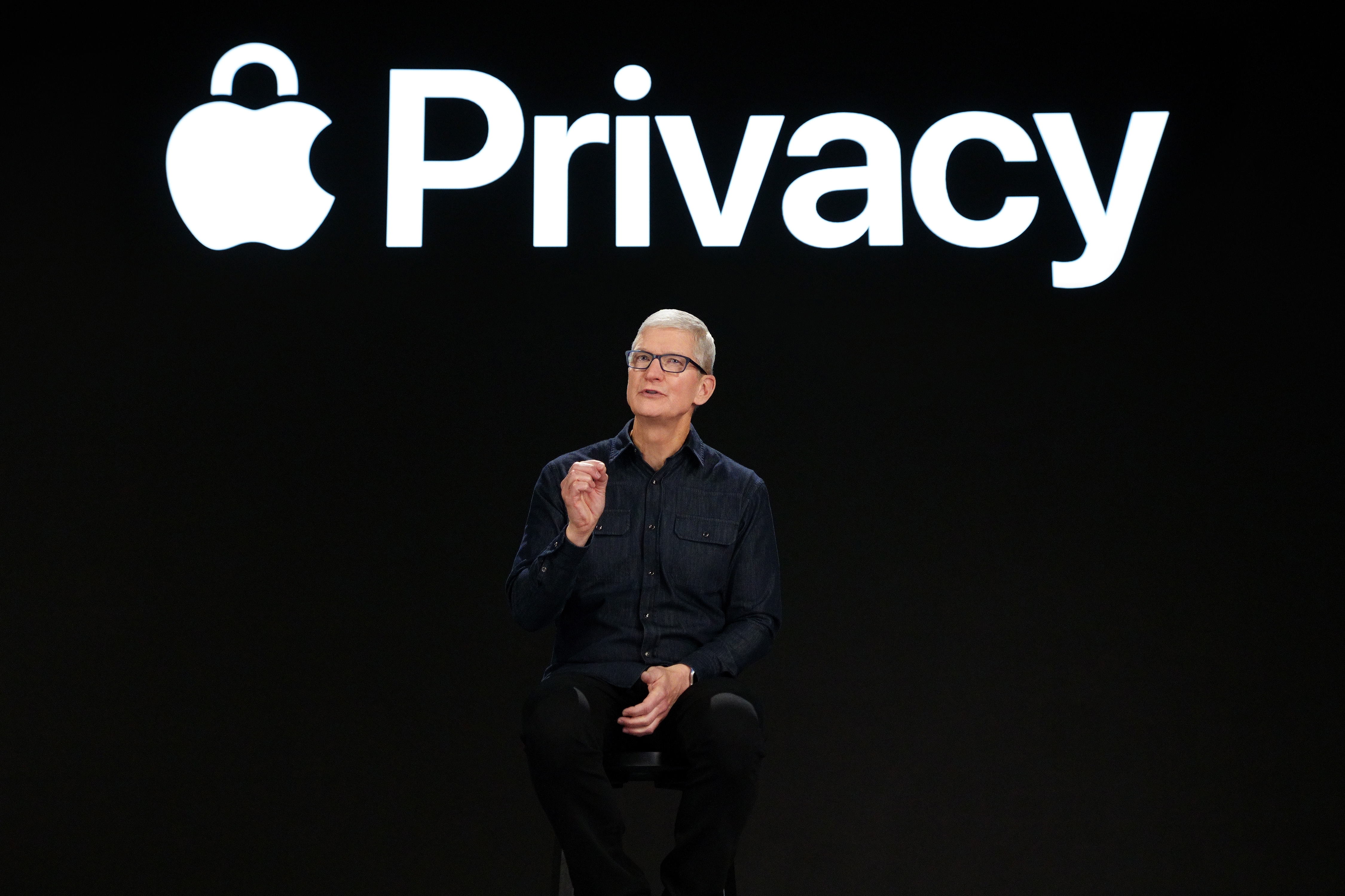 Apple CEO Tim Cook previews powerful new privacy protections at AppleÕs Worldwide Developers Conference at Apple Park, on June 7, 2021.