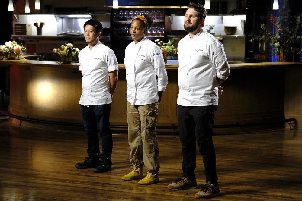 (l-r) Shota Nakajima, Dawn Burrell, Gabe Erales in Top Chef Portland