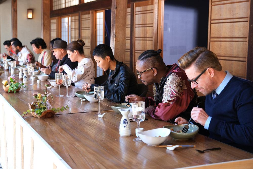 (l-r) Tom Colicchio, Gail Simmons, Kristen Kish, Gregory Gourdet, Richard Blais in Top Chef Portland