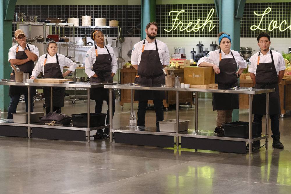 (l-r) Byron Gomez, Jamie Tran, Dawn Burrell, Gabe Erales, Maria Mazon, Shota Nakajima in Top Chef Portland