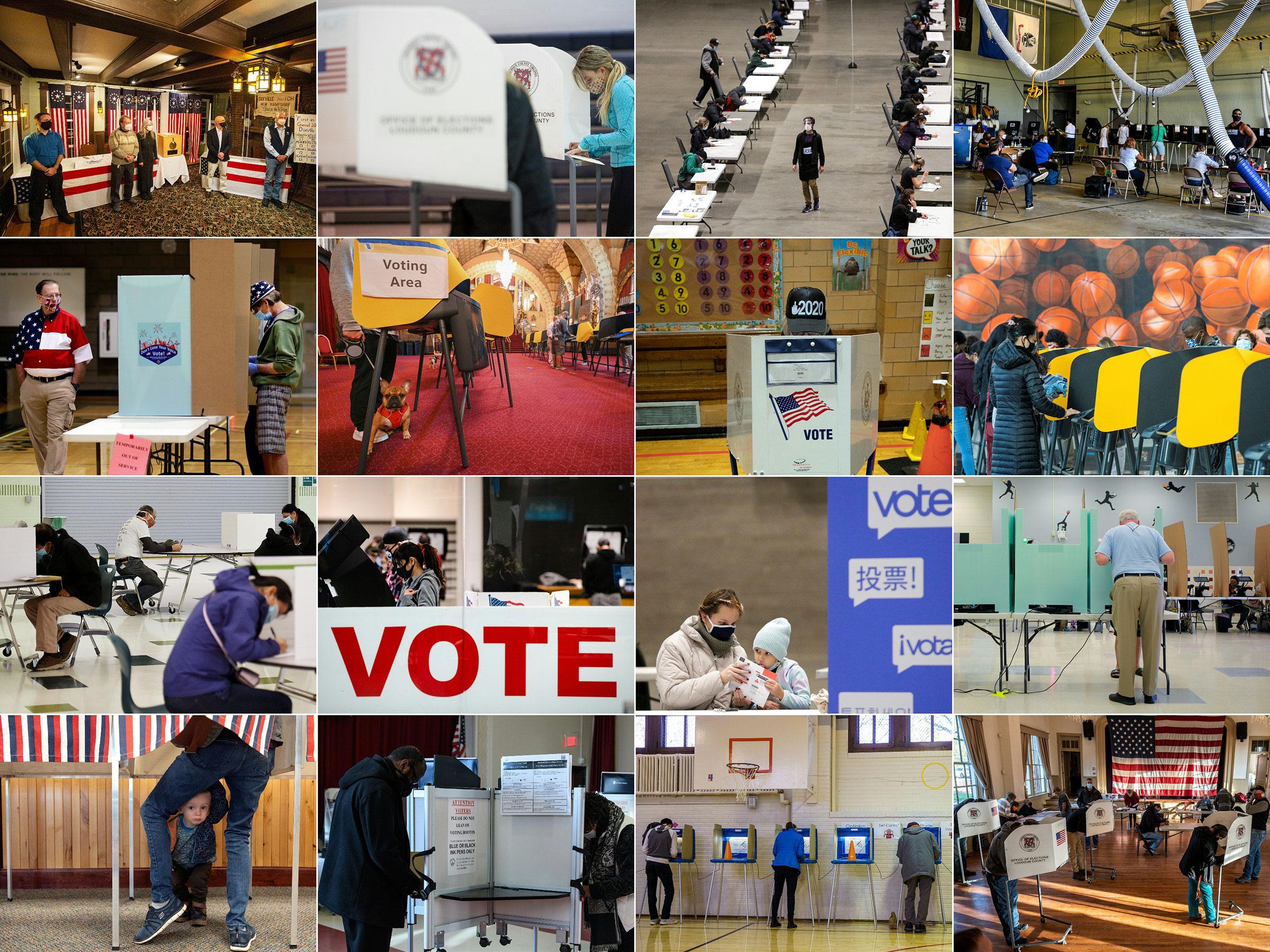 Voters in (from L-R, top to bottom): Dixville Notch, N.H.; Sterling, Va.; Seattle; Miami; Las Vegas; Los Angeles; New York City; Los Angeles; Arlington, Va.; El Paso, Texas; Seattle; Las Vegas; Granby, Colo.; Washington, DC; Minneapolis, Minn.; Hillsboro, Va. on Nov. 3, 2020.