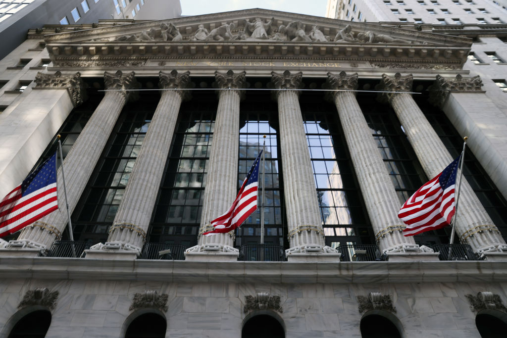 The New York Stock Exchange (NYSE) stands in the Financial District in Manhattan