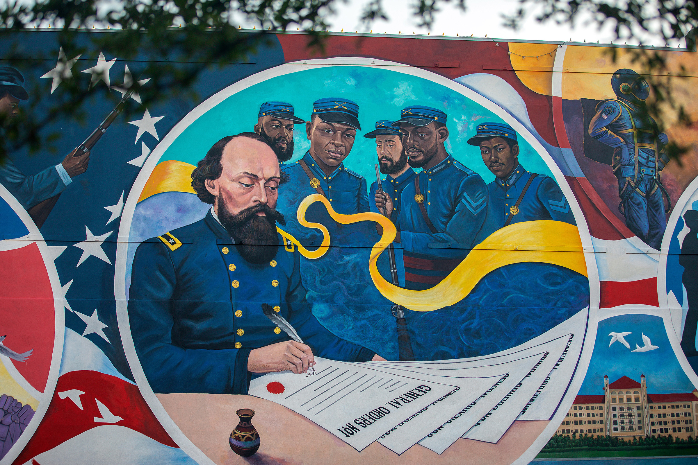 A mural in Galveston, Texas, marks the spot where General Order No. 3 was issued