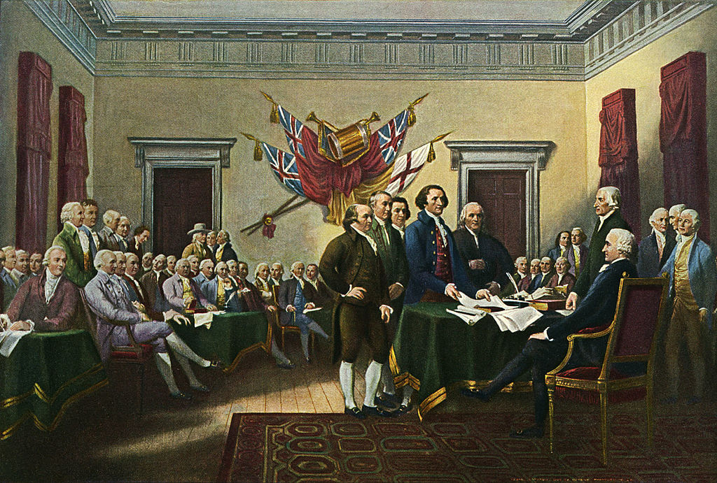 A painting by John Trumbull, 'Signing the Declaration of Independence, 28th June 1776' commissioned 1817, showing Thomas Jefferson and the drafting committee presenting the document to John Hancock.