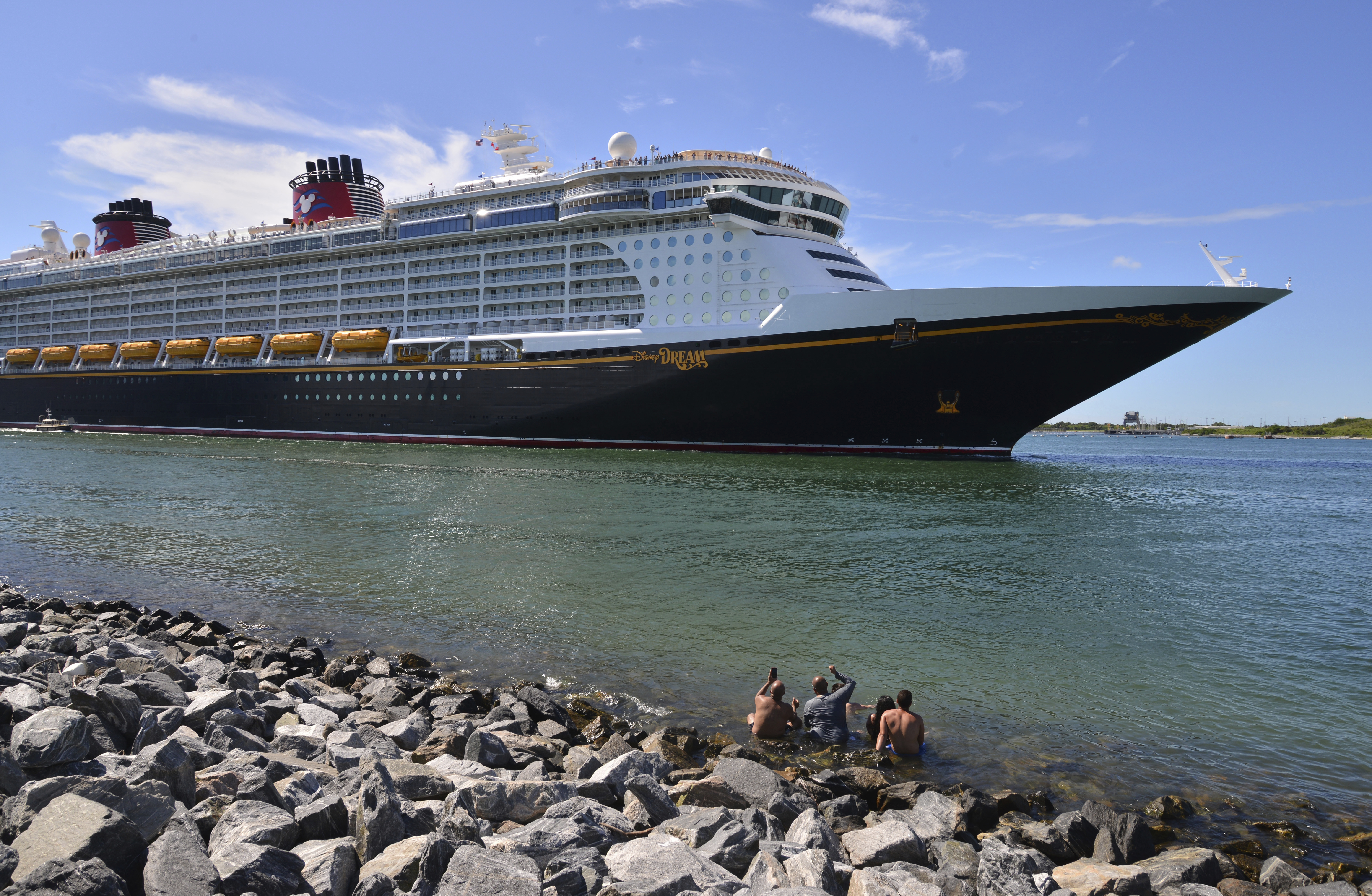 The Disney Dream sails out of Port Canaveral, Fla. on July 17, 2021.
