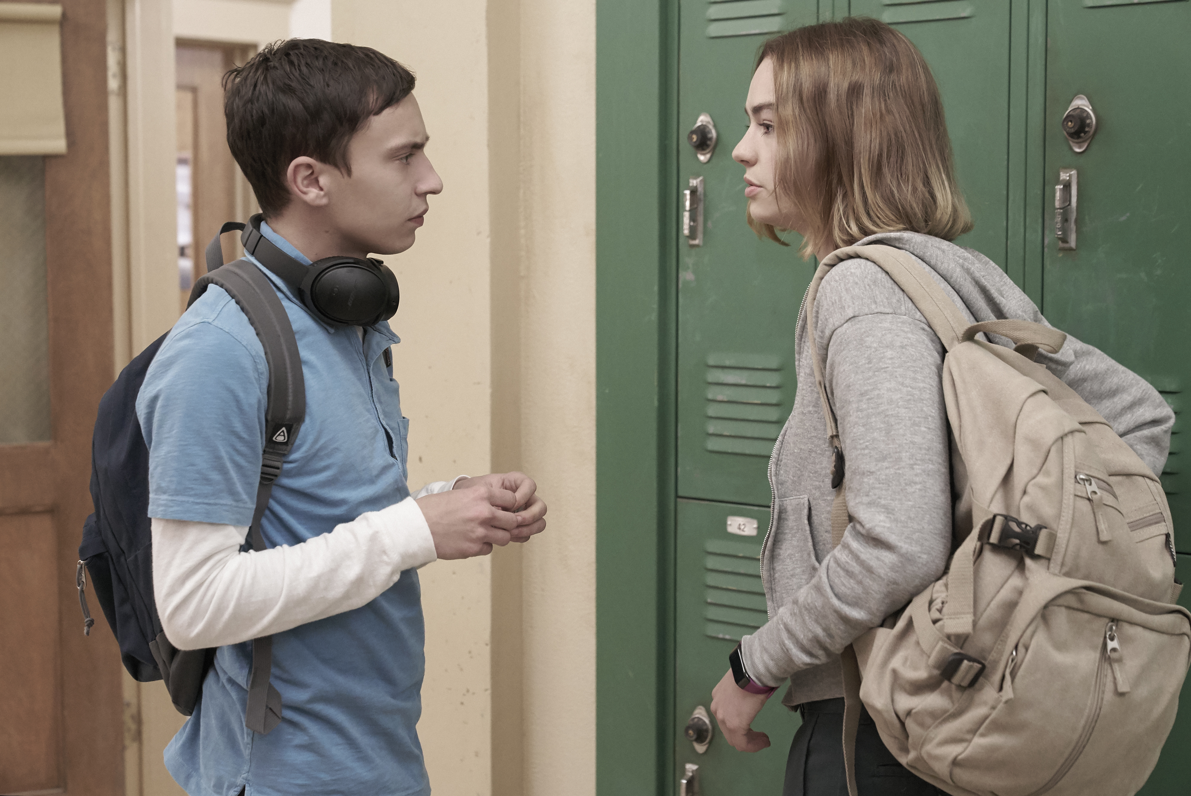 Keir Gilchrist and Brigette Lundy Paine in Season 1 of 'Atypical'