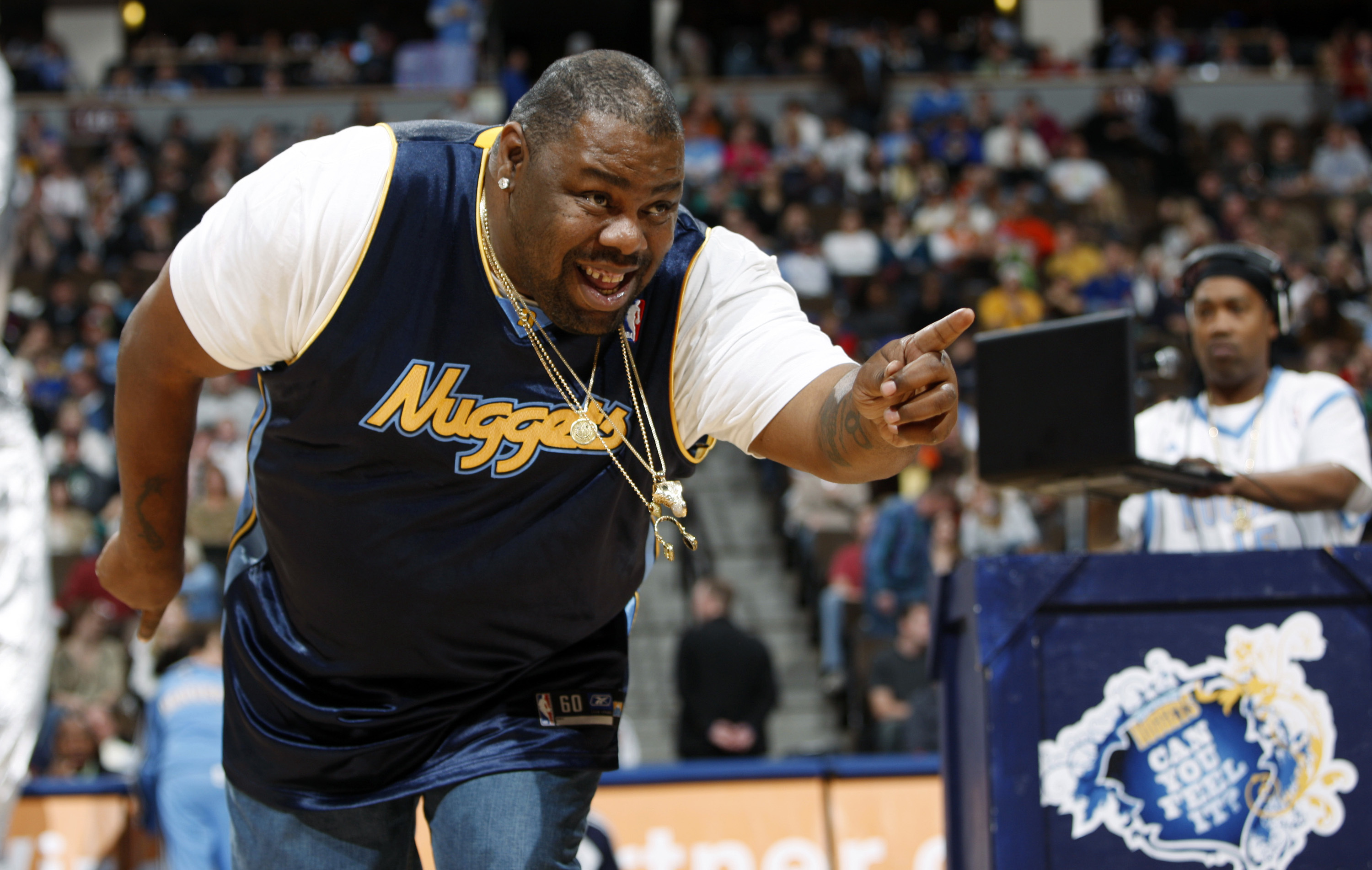 Biz Markie performs for fans during halftime of the Denver Nuggets' 105-99 victory over the Phoenix Suns in an NBA basketball game in Denver, Colorado, on Dec. 12, 2009.