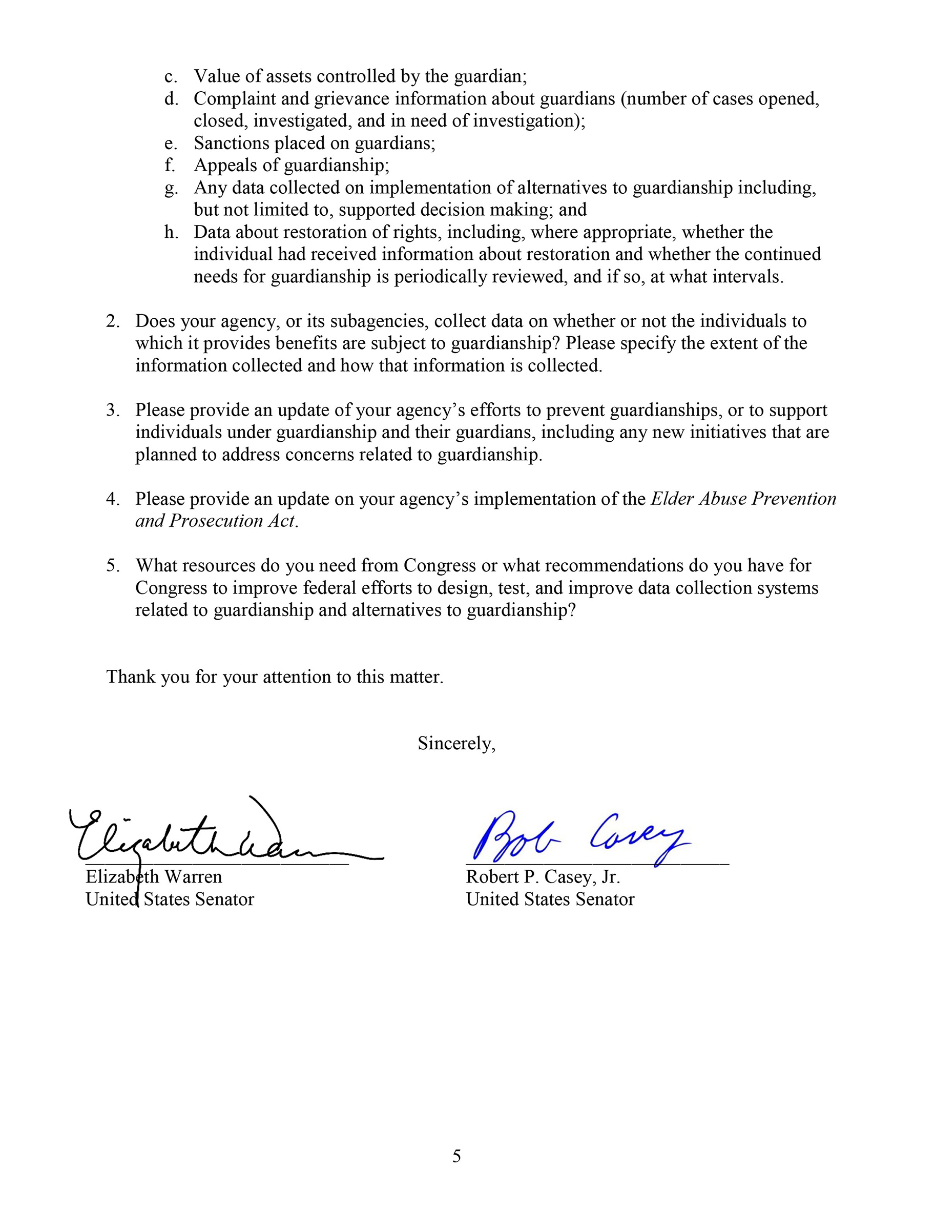 A letter Sens. Elizabeth Warren and Bob Casey sent to HHS and DOJ calling for more data on guardianships in the U.S.
