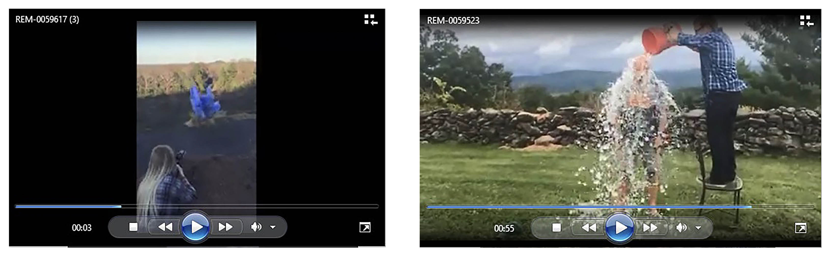 Some examples of the included 1,521 video files of gender reveal parties and ice bucket challenges.