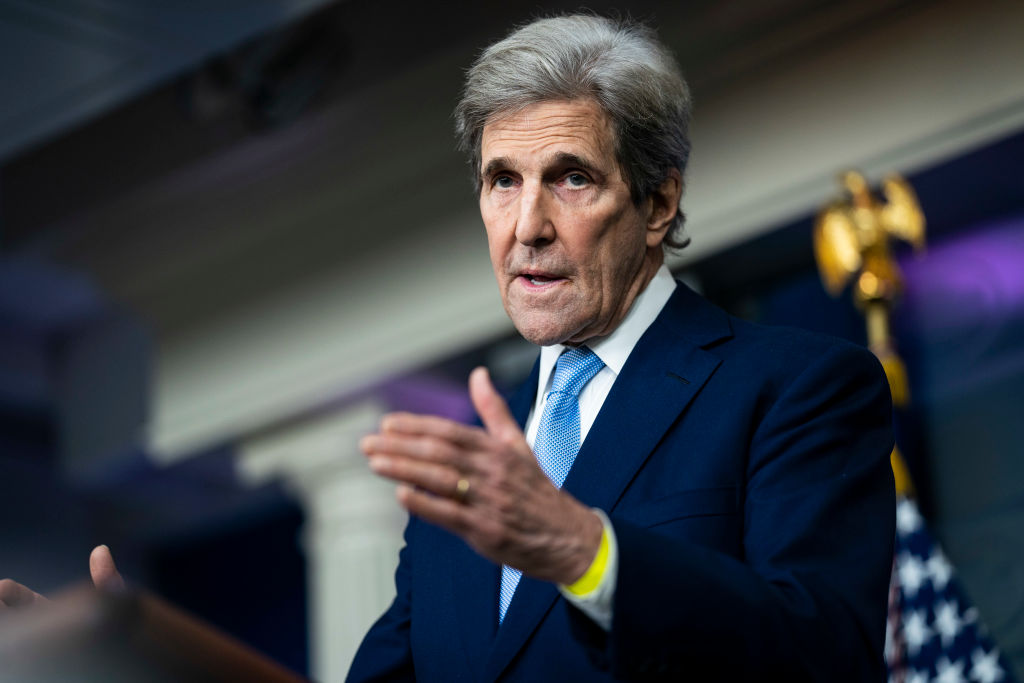 Special Presidential Envoy for Climate John Kerry speaks during a press briefing at the White House in Washington, D.C., on April 22