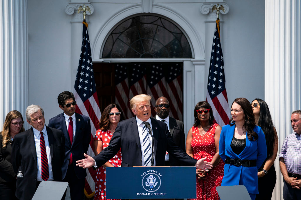Former President Donald  Trump speaks about filing lawsuits targeting Facebook, Google and Twitter and their CEOs at the Trump National Golf Club on in Bedminster, NJ, on July 07, 2021.