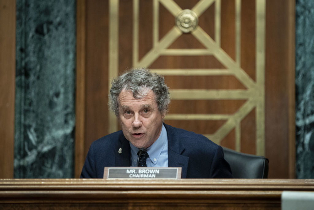 Senator Sherrod Brown, a Democrat from Ohio and chairman of the Senate Banking, Housing, and Urban Affairs Committee, speaks during a Senate Banking Committee hearing on Thursday, July 15, 2021.