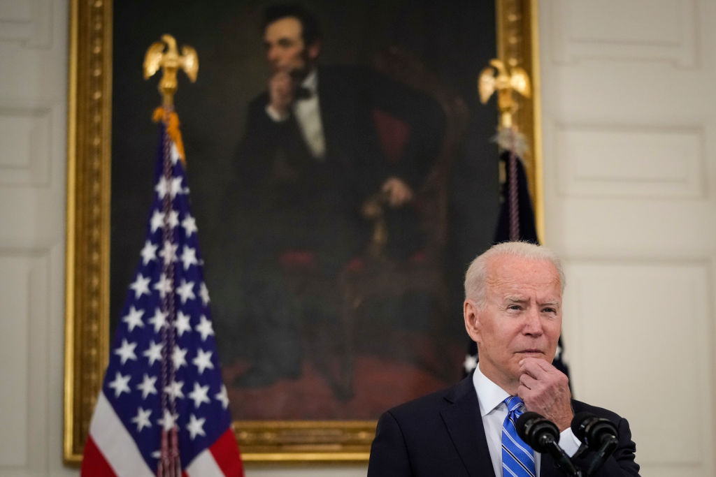 U.S. President Joe Biden speaks about the nation's economic recovery amid the COVID-19 pandemic in the State Dining Room of the White House on July 19, 2021 in Washington, DC.
