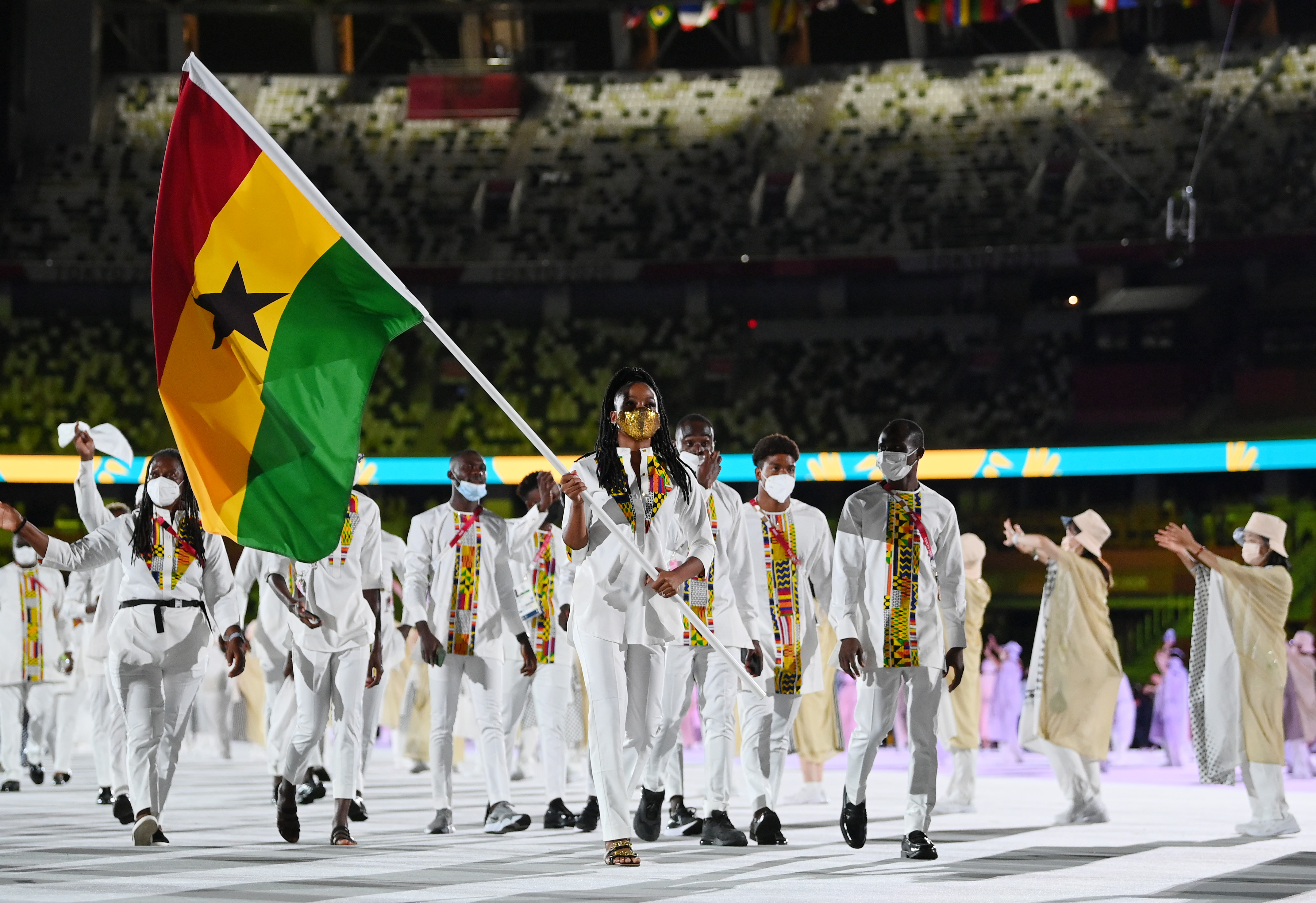 Flag bearers Nadia Eke and Sulemanu Tetteh of Team Ghana during the Opening Ceremony of the Tokyo 2020 Olympic Games