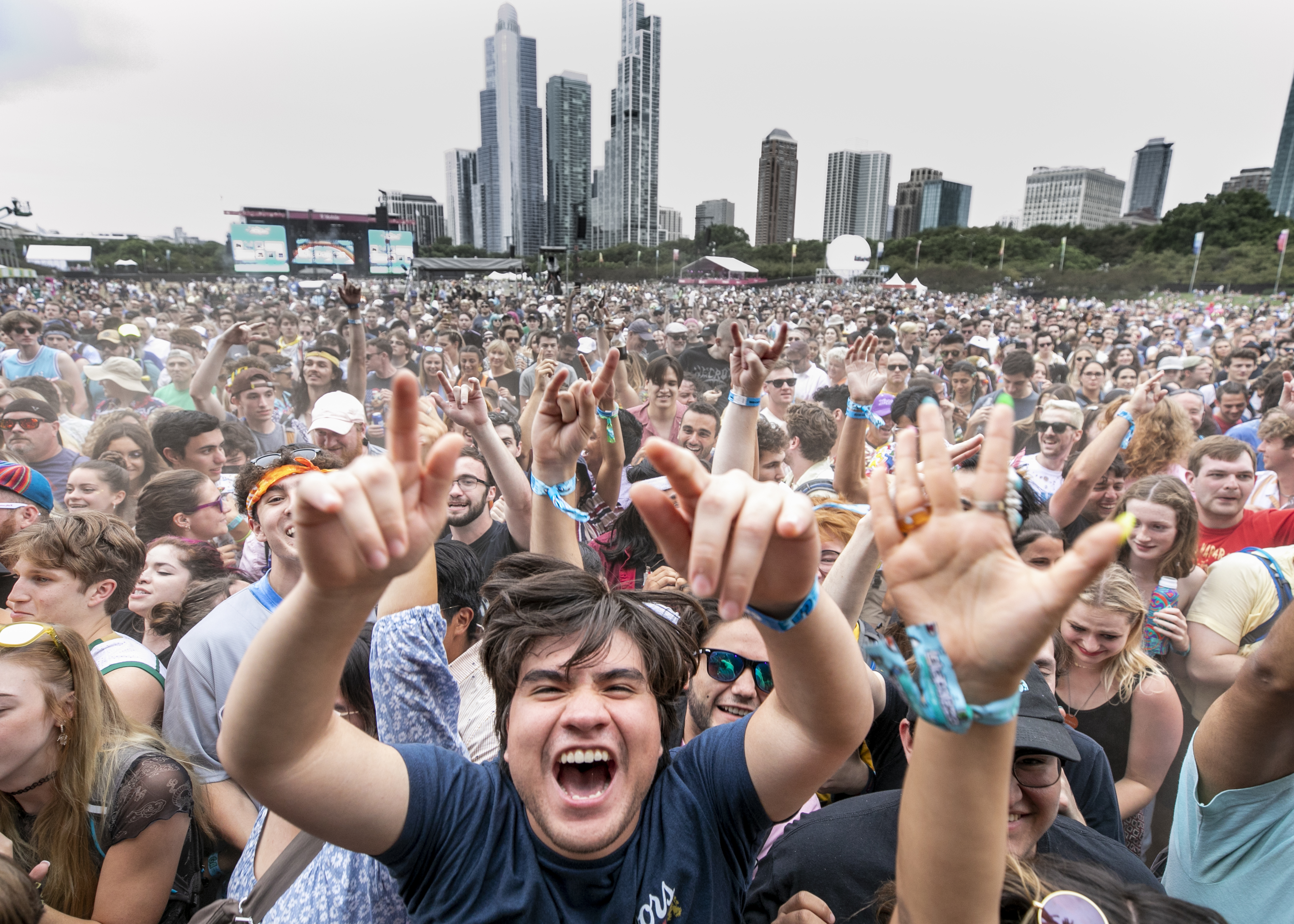Festivalgoers attend day 2 of Lollapalooza at Grant Park in Chicago, on July 30, 2021.
