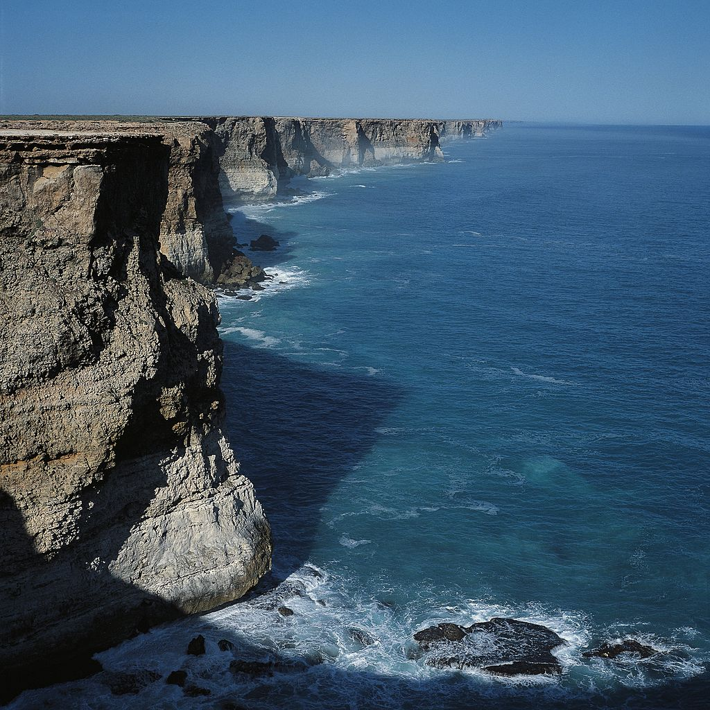Rocky coast of the Great Australian Bight between Spencer Gulf and the Archipelago of the Recherche, Australia taken around 2003. Mirning lands include the seas of the the Nullarbor Plain and the Great Australian Bight.