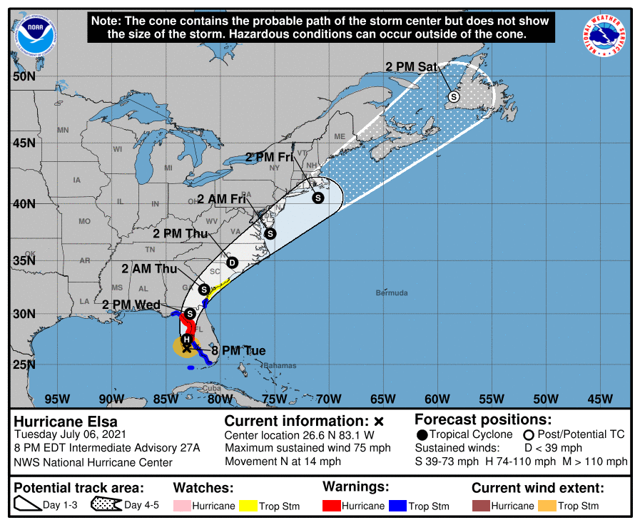 The National Weather Service said Tuesday, July 7, 2021 that Hurricane Elsa was packing winds as high as 75 mph as it hurtled toward Florida's northern Gulf Coast. The Category 1 storm is expected to make landfall between 8 a.m. and 9 a.m. Wednesday, somewhere between the Tampa Bay area and the Big Bend region.
