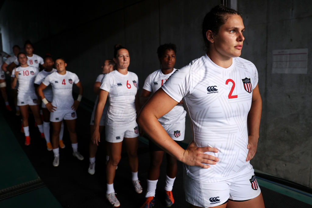 CHOFU, JAPAN - JULY 29: Ilona Maher of Team United States looks out as she prepares to lead her team out onto the field for the Women's pool C match between Team United States and Team Japan during the Rugby Sevens on day six of the Tokyo 2020 Olympic Games at Tokyo Stadium on July 29, 2021 in Chofu, Tokyo, Japan. (Photo by )