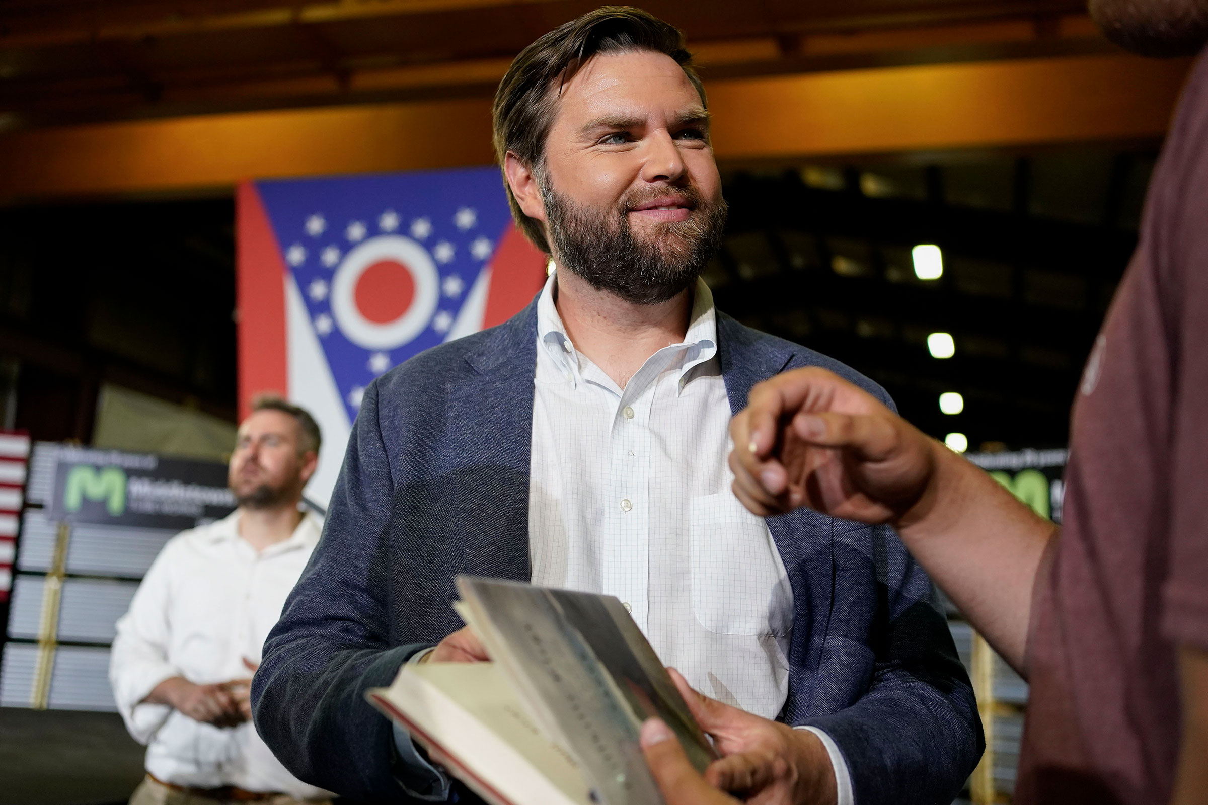 JD Vance, the venture capitalist and author of  Hillbilly Elegy,  speaks with supporters after a rally in Middletown, Ohio, on July 1, 2021.