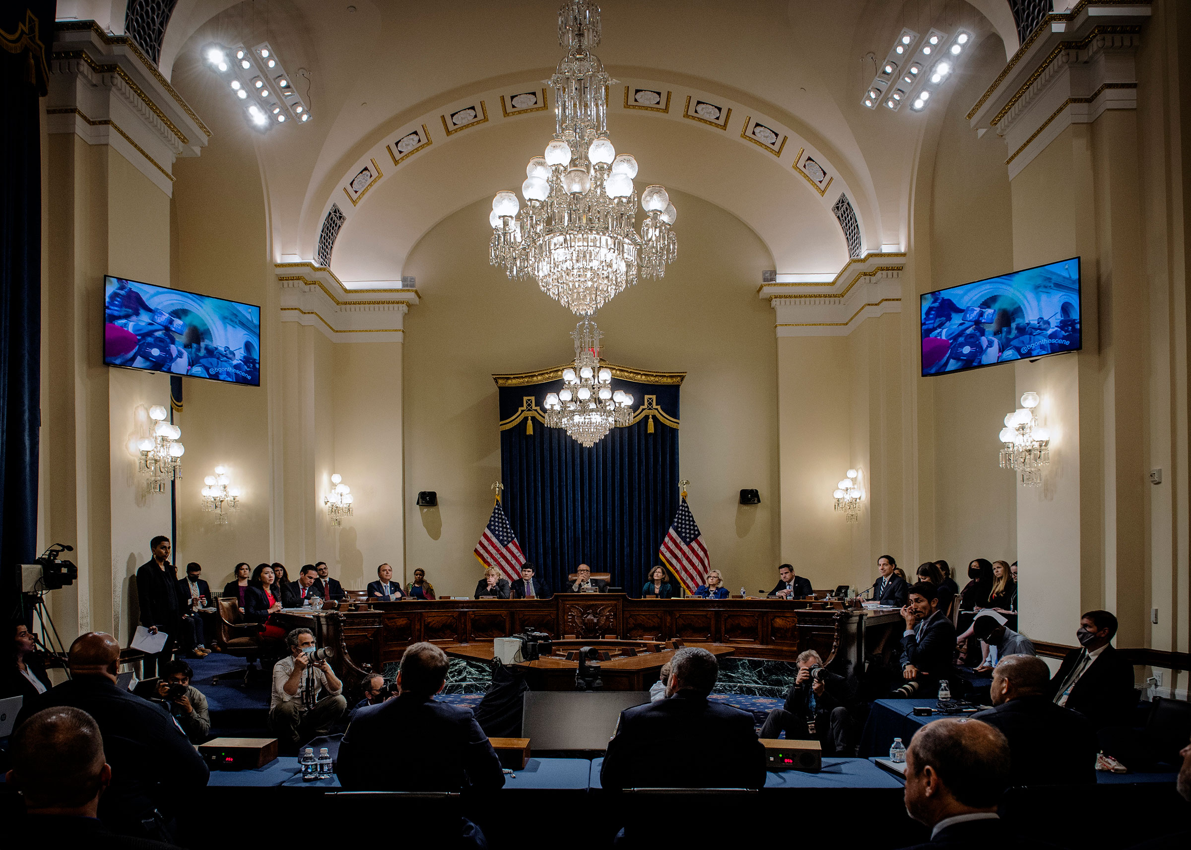 All eyes are on the video monitors to witness clips of the confrontations as the Congressional Jan 6th commission hearing begins, in Washington, on July 27, 2021.