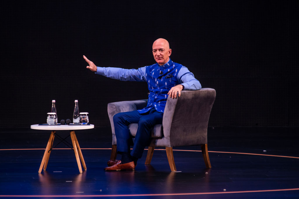 Amazon founder Jeff Bezos interacts with entrepreneurs at the Amazon's annual Smbhav event at Jawahar Lal Nehru Stadium, on January 16, 2020 in New Delhi, India.