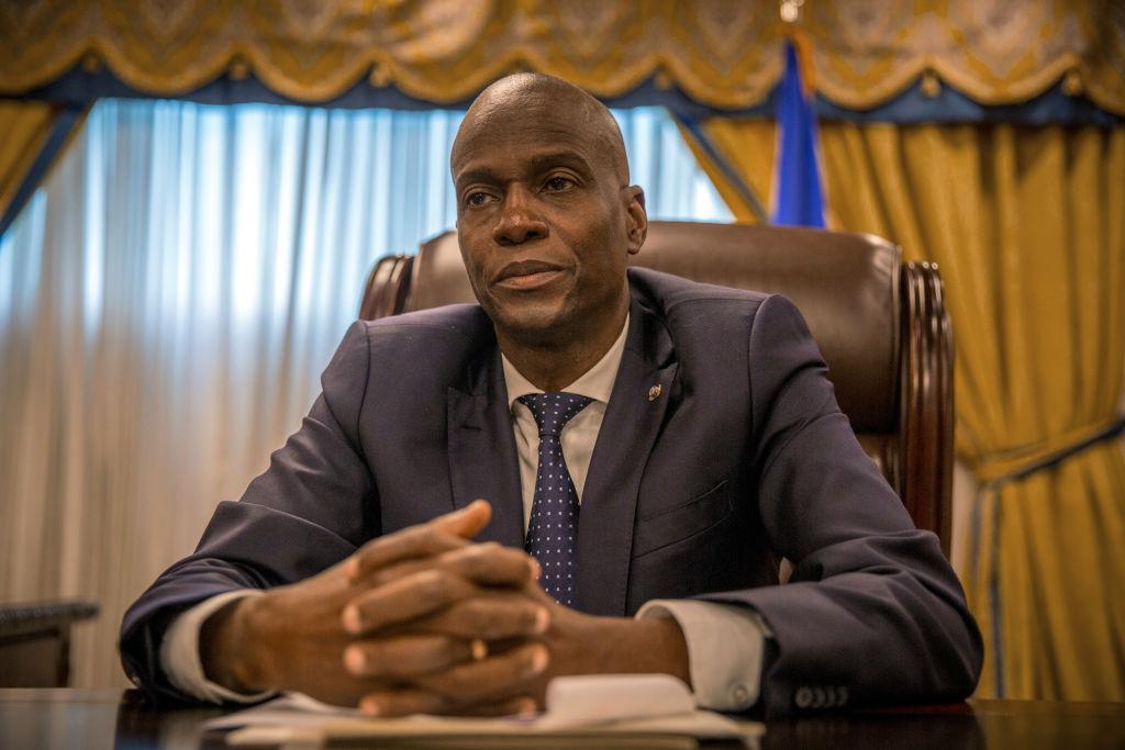 Jovenel Moise, Haiti's president, listens during an interview in Port-Au-Prince, Haiti, on Monday, Jan. 29, 2018.