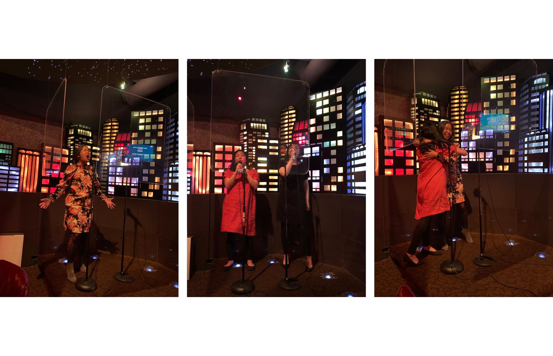 Vanessa Hua; Aimee Phan and R.O. Kwon; Phan and Hua at a karaoke bar in San Francisco in June