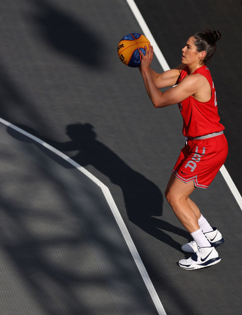 Kelsey Plum of Team USA practices in 3x3 basketball at Aomi Urban Sports Park ahead of the Tokyo 2020 Olympic Games on July 22, 2021 in Tokyo, Japan.