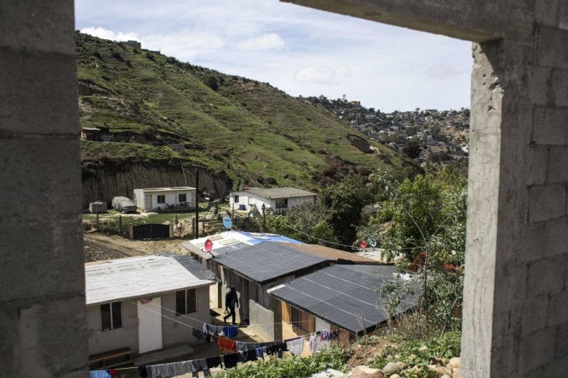 View of  Little Haiti,  a neighborhood of some 40 houses, built for refugee families near the Embajadores de Jesus church, in the suburbs of Tijuana, Mexico on March 11, 2018.