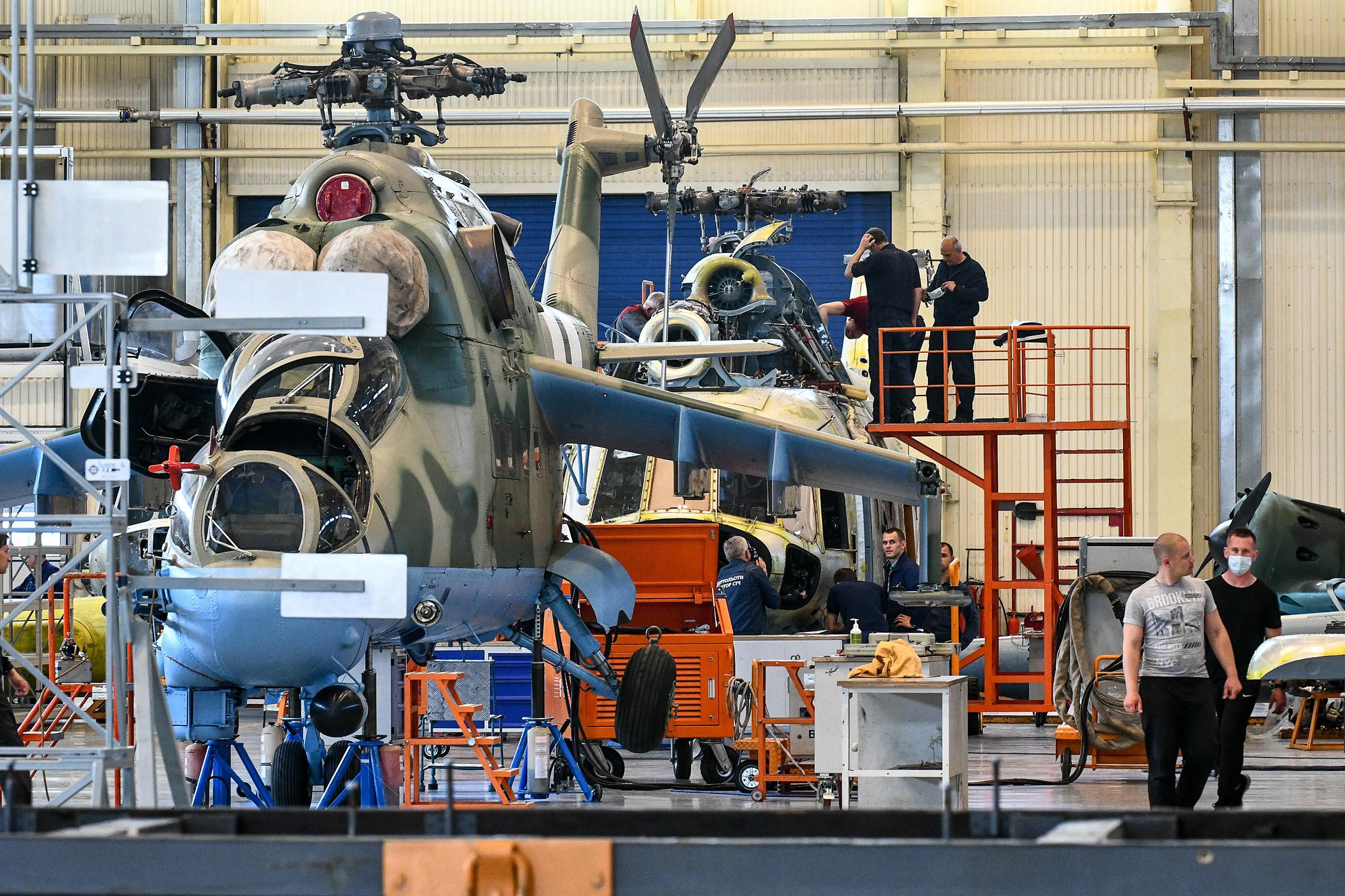 A helicopter assembly shop of JSC Motor Sich, Zaporizhzhia, southeastern Ukraine on May 18, 2021.