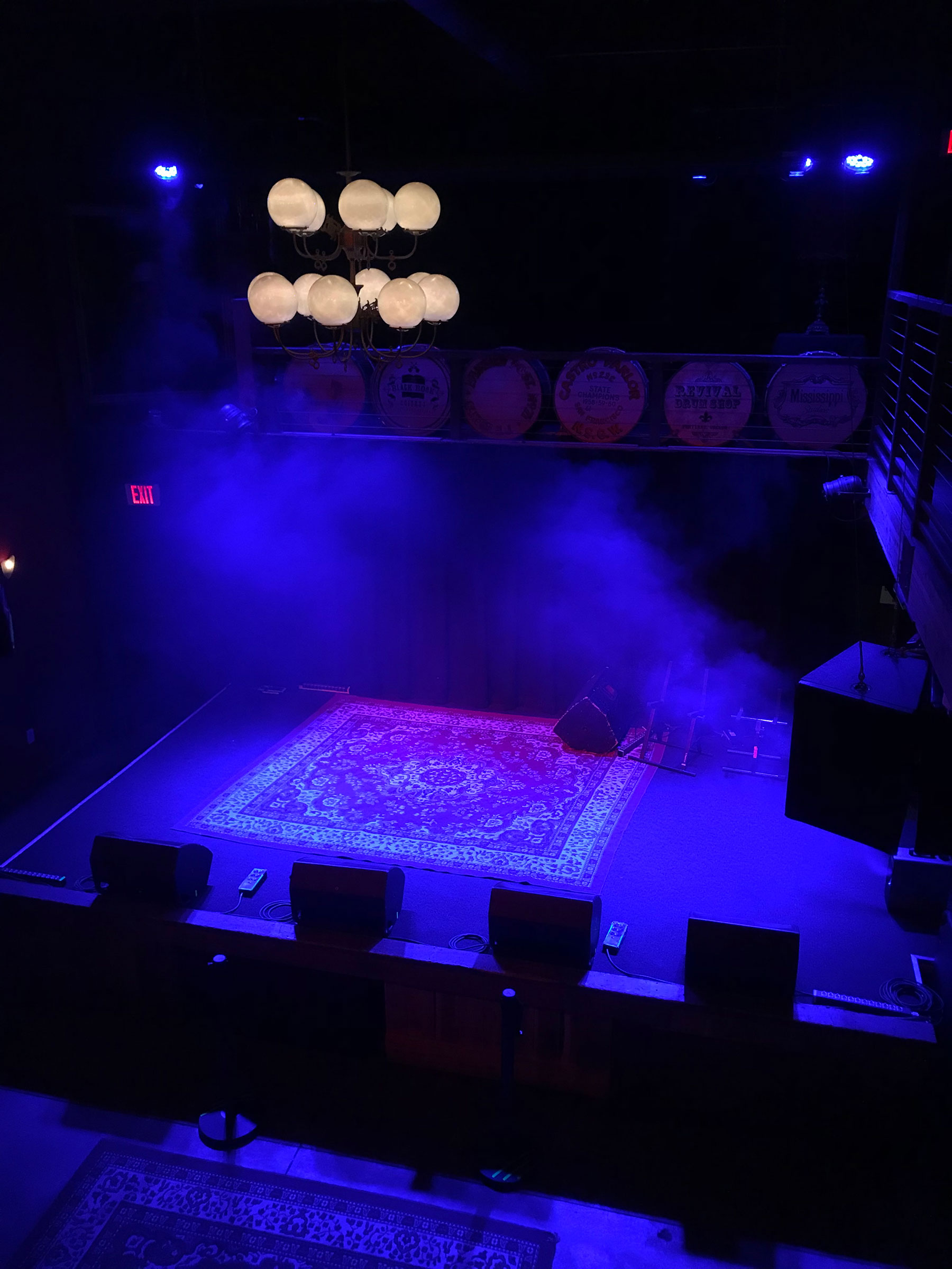 An empty stage at Mississippi Studios in Portland, Oregon, 2020.