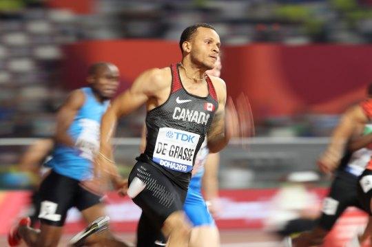 Canada's Andre De Grasse in action during Men's 200M Heats at Khalifa International Stadium on September 29th, 2019 in Doha, Qatar.