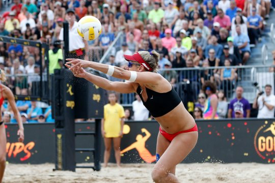 April Ross hits the ball during the finals at AVP Gold Series Championships at Oak Street Beach on September 01, 2019 in Chicago, Illinois.