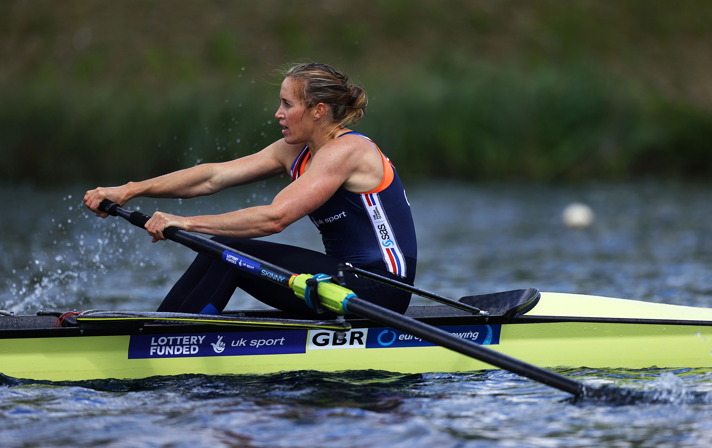 Helen Glover MBE in action during a TeamGB Rowing Training Session on May 05, 2021 in Reading, England.