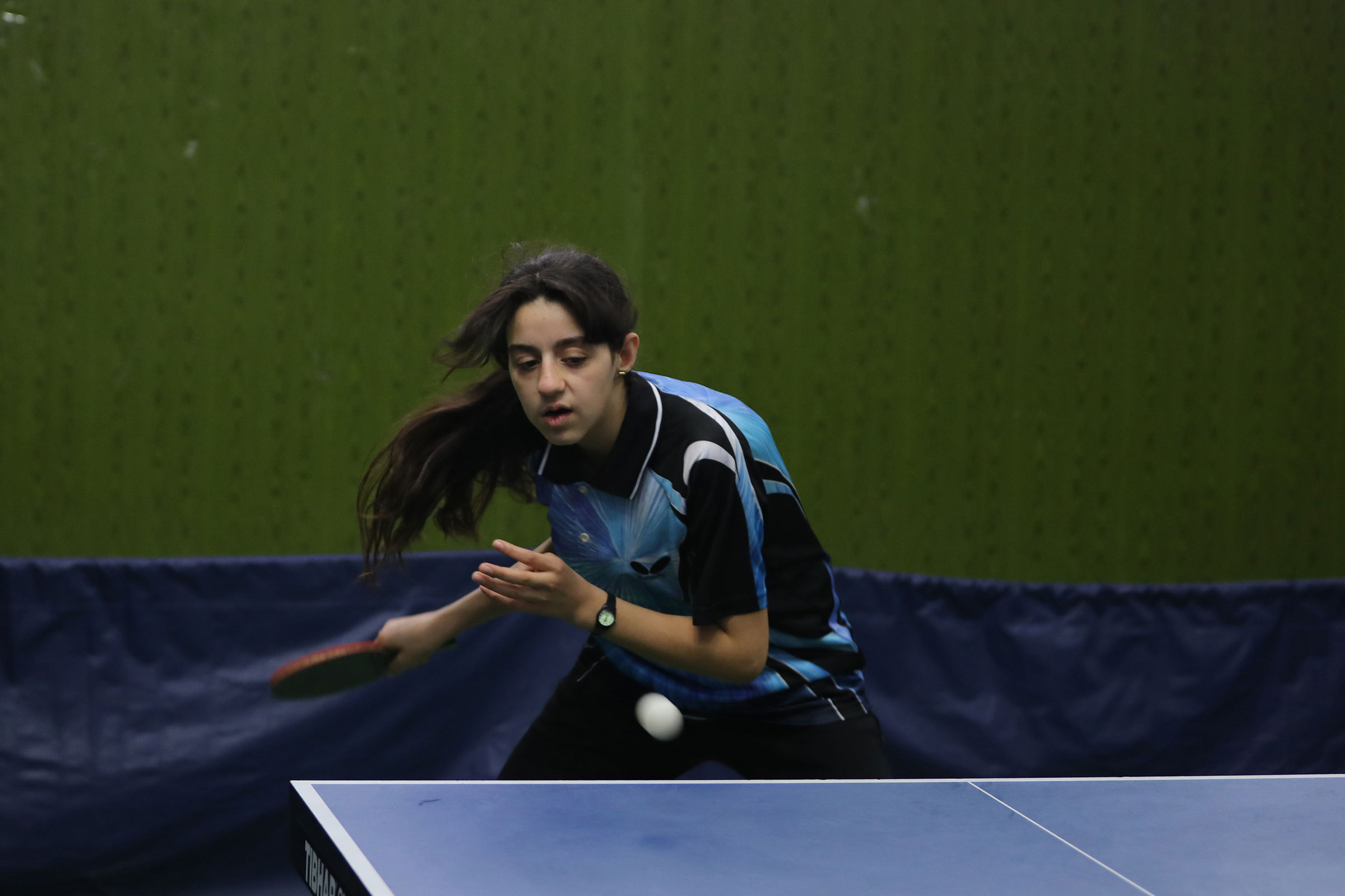 Syria's table tennis player Hind Zaza plays during the local clubs championship on March 13, 2020 in Damascus, Syria.