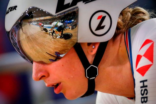 Great Britain's Laura Kenny competes in the Women's Omnium Tempo Race during the UCI track cycling World Championship on February 28, 2020 in Berlin, Germany.