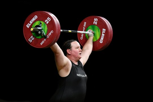 Laurel Hubbard of New Zealand competes in the Women's +90kg Weightlifting Final during the Gold Coast 2018 Commonwealth Games on April 9, 2018 on the Gold Coast, Australia.
