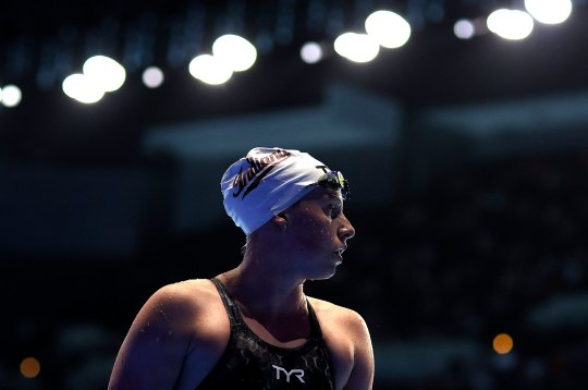 Lilly King of the United States after competing in a semifinal heat for the Women's 200m breaststroke at the Olympic Team Swimming Trials on June 17, 2021 in Omaha, Nebraska.
