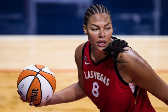 Liz Cambage of the Las Vegas Aces in action against the Washington Mystics on June 5, 2021 in Washington, DC.