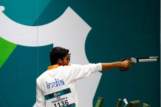 Saurabh Chaudhary of India competes in the Men's 10m Air Pistol Final at the 2018 Asian Games on August 21, 2018 in Palembang, Indonesia.