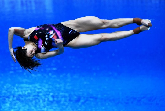 Shi Tingmao of Chongqing competes in the Women's 3-meter Springboard Final at the 2021 Chinese National Diving Championships & Tokyo Olympic Trials on May 15, 2021 in Shanghai, China.