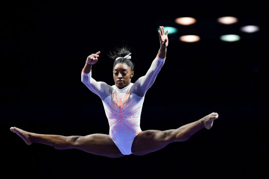 Simone Biles competes on the beam during the 2021 GK U.S. Classic gymnastics competition on May 22, 2021 in Indianapolis, Indiana.