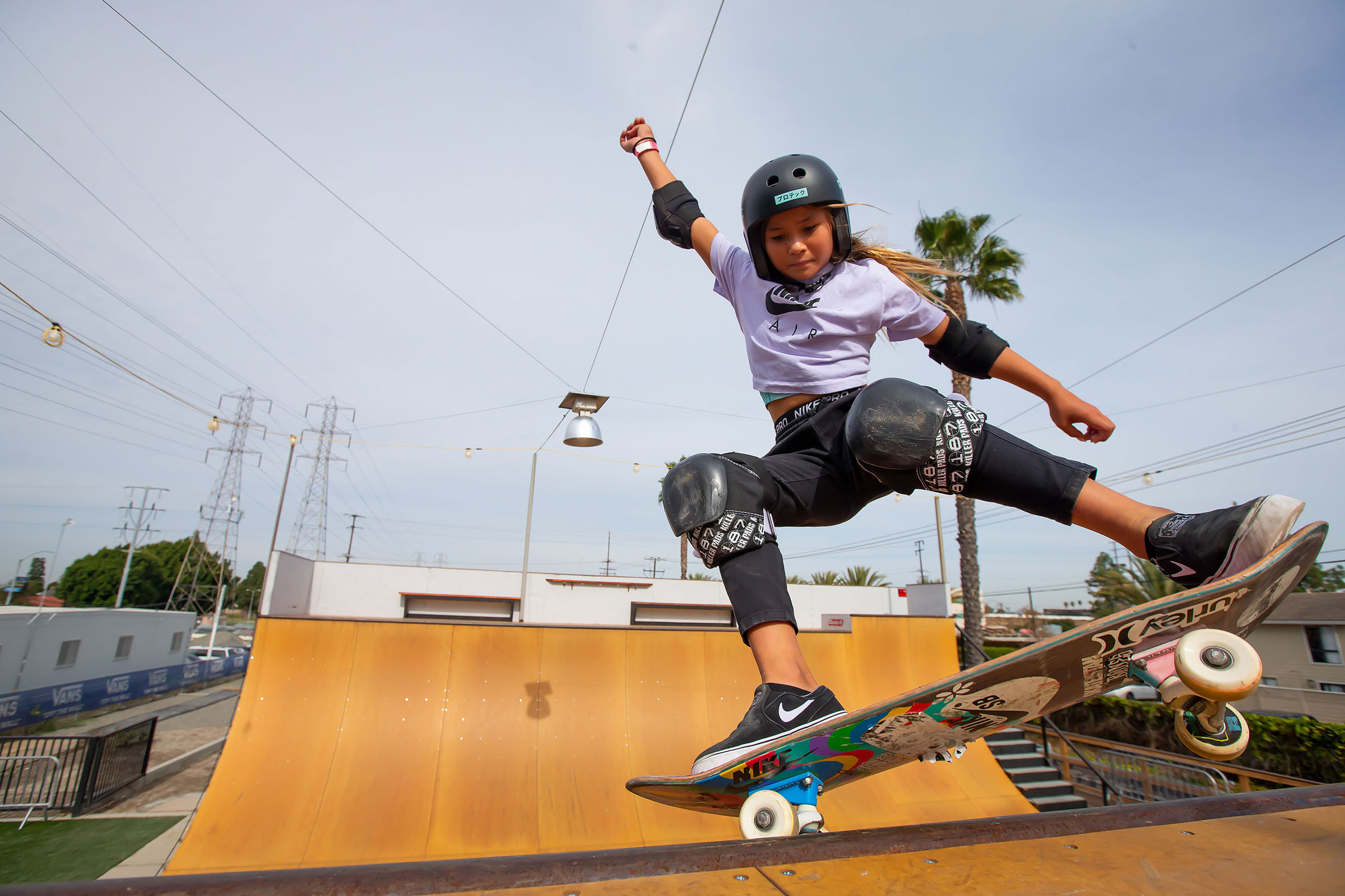 Sky Brown at Vans Off The Wall Huntington Beach skatepark in 2020 in Los Angeles, California.