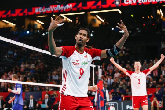 Wilfredo Leon Venero of Poland celebrates a point against France during EuroVolley on September 28, 2019 in Paris, France.