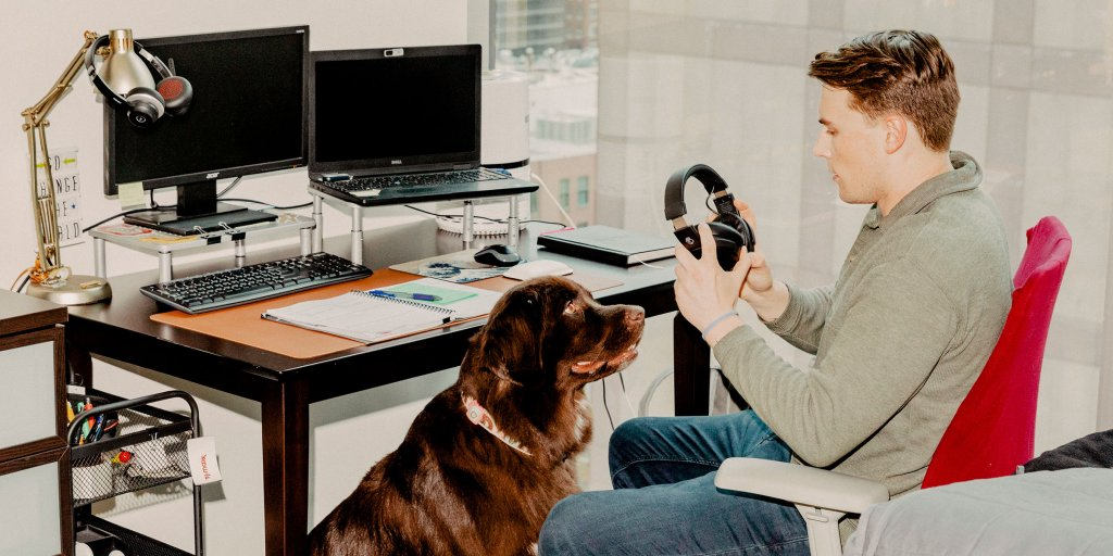 For Workers With Pandemic Pets Office, Dog Leg Desk