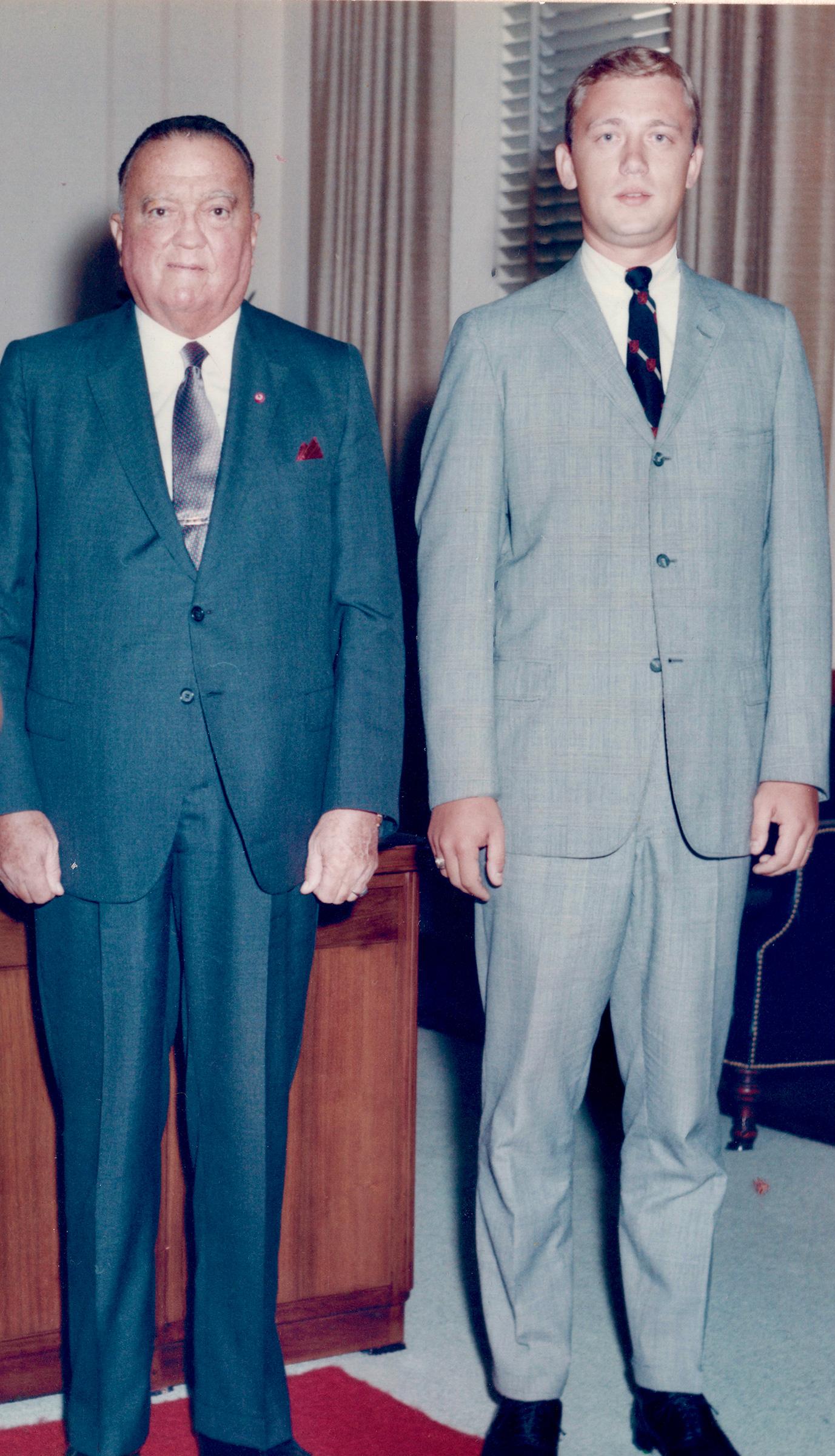 Paul Letersky, right, with FBI Director J. Edgar Hoover in 1968