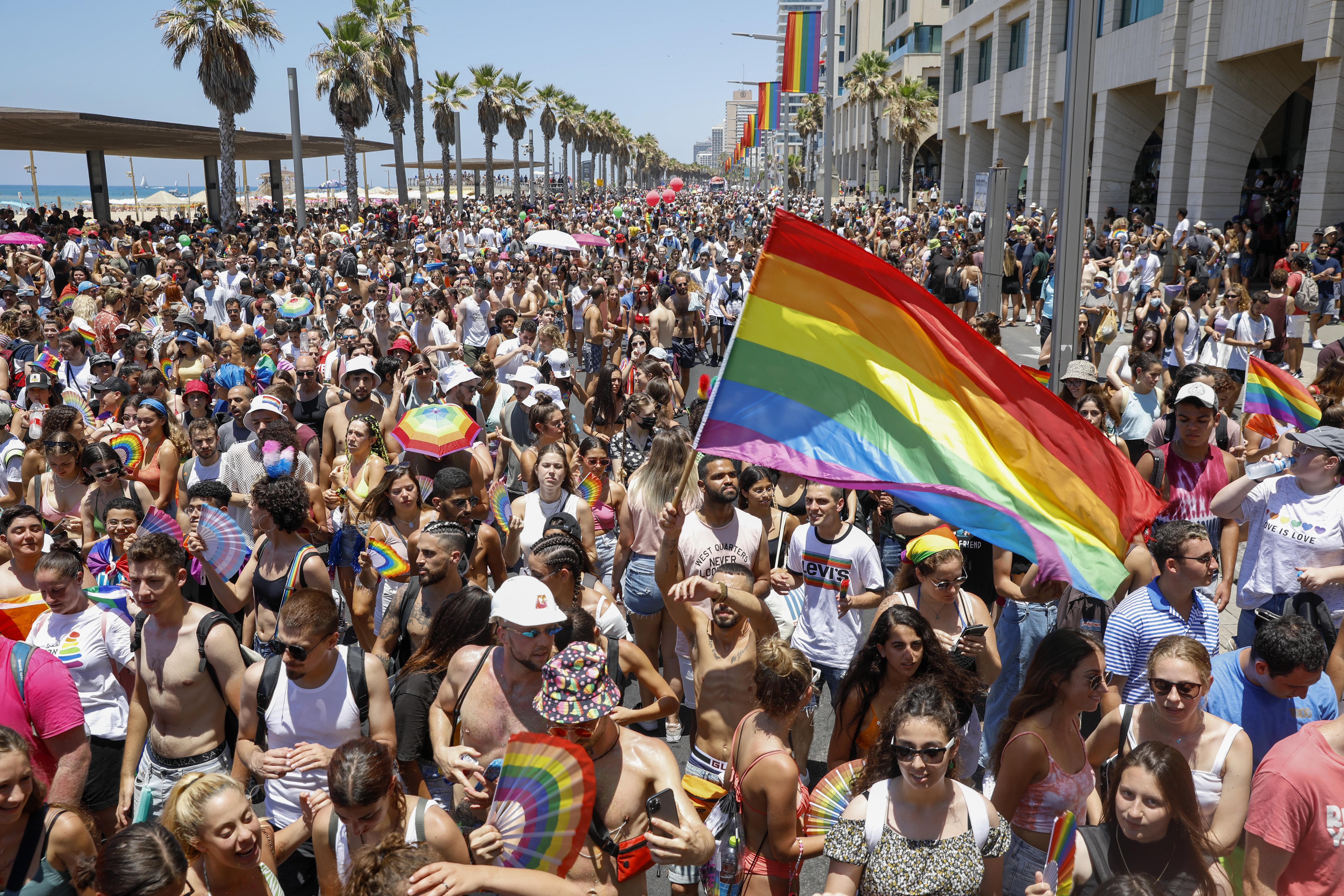 People participate in the annual Pride Parade, in Tel Aviv, Israel on July 11, 2021.