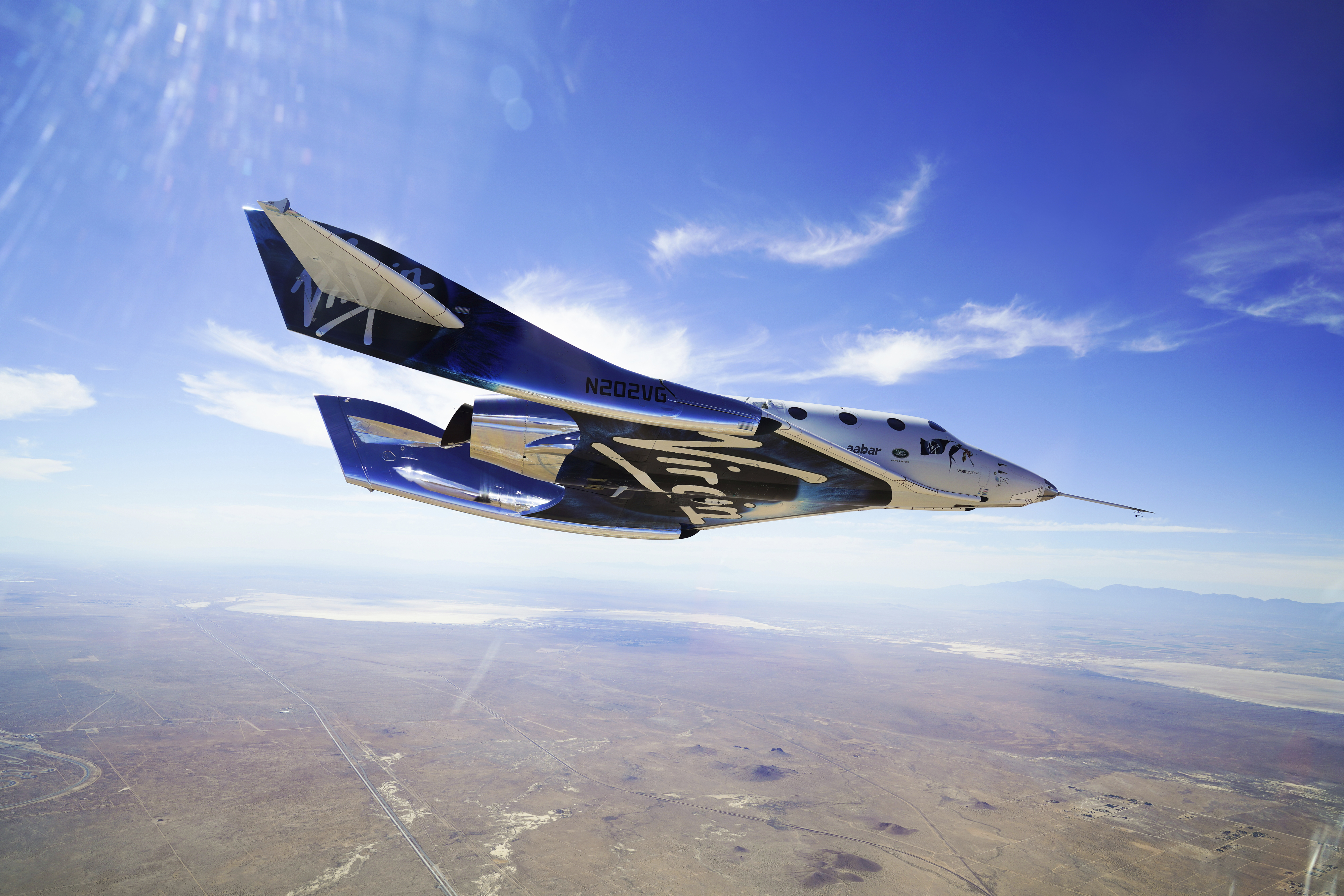 In this photo made available by Virgin Galactic shows the company's VSS Unity on its second supersonic flight.