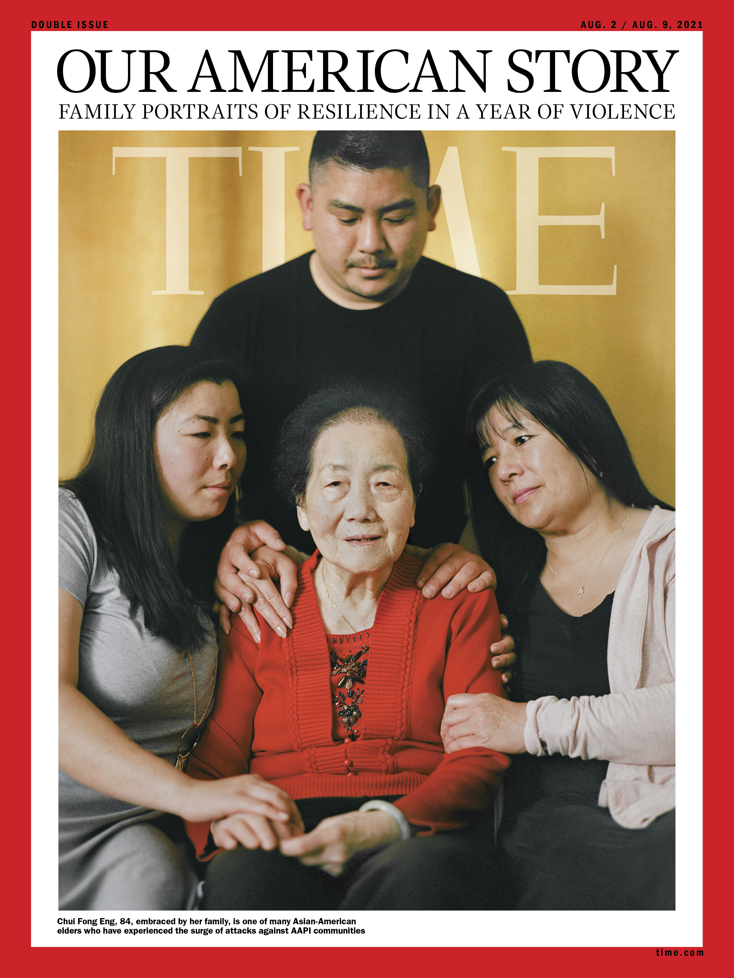 """'I'M A FIGHTER.' Growing up in San Francisco, Victoria Eng, 28, left, and her brother Andrew Eng, 31, top, pictured on June 15 in Pacifica, Calif., learned that respecting their elders was part of their Chinese culture. And they had frequent chances to express that value, as their grandparents picked them up from school nearly every day and cared for them while their parents worked. """"They fed us, they made sure that we were home safe, and they were a huge part of our lives from the start,"""" says Victoria. When violence against Asian-American elders rose drastically during the pandemic, Victoria was appalled—and when her own grandmother was attacked, she felt helpless. On May 4, shortly after Chui Fong Eng, center, received her COVID-19 vaccination, the 84-year-old ventured into Chinatown for the first time in over a year to buy groceries. While waiting at a bus stop, she was stabbed through her right arm with a large blade that then entered her chest and punctured a lung. Another Asian-American senior at the bus stop was also stabbed. The Engs clung to one another as their matriarch underwent surgery. """"I cried, and I cried, and I cried,"""" says Chui Fong's daughter-in-law Linda Lim, right. """"I couldn't believe that she survived this."""" Less surprised was Chui Fong, who, as the eldest of her seven siblings, has always been tough. After arriving in the U.S. from Hong Kong in 1963, she sewed clothes in a factory until she was able to sponsor her parents and siblings. """"I'm a fighter,"""" she says. Linda, 56, says the attack brought the family closer, after years of distance following her divorce from Victoria and Andrew's father. """"It made us realize how important family is,"""" she says."""