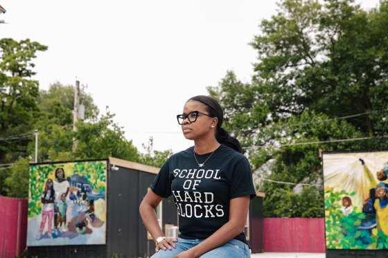 Tamar Manasseh, the president of Mothers Against Senseless Killings, poses for a portrait in Chicago on July 12, 2021.